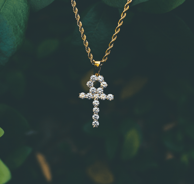 Micro Diamond Ankh Gold Necklace Pendant & Rope Gold Chain  Gold Gods® front view