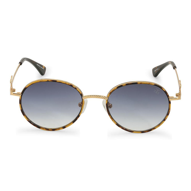 Gold Iris Designer Round Sunglasses Gold Gods® Blue Gradient