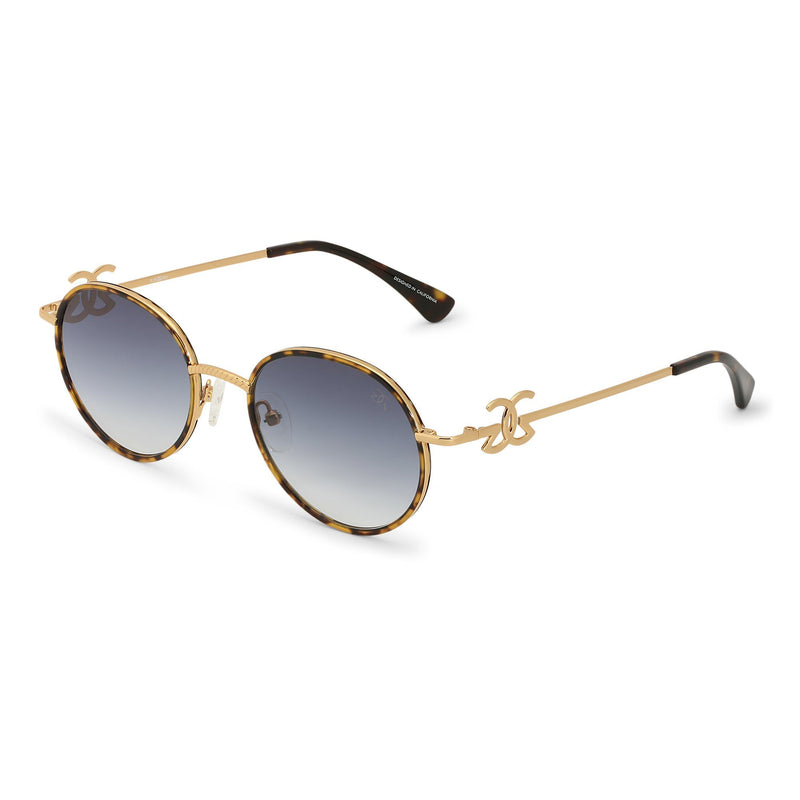Gold Iris Designer Round Sunglasses Gold Gods® Blue Gradient Side