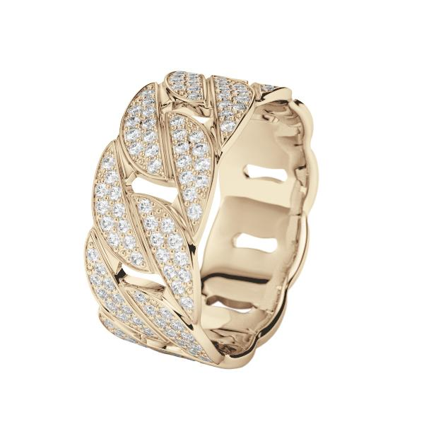Diamond Cuban Link Ring Gold Gods® front side view 2