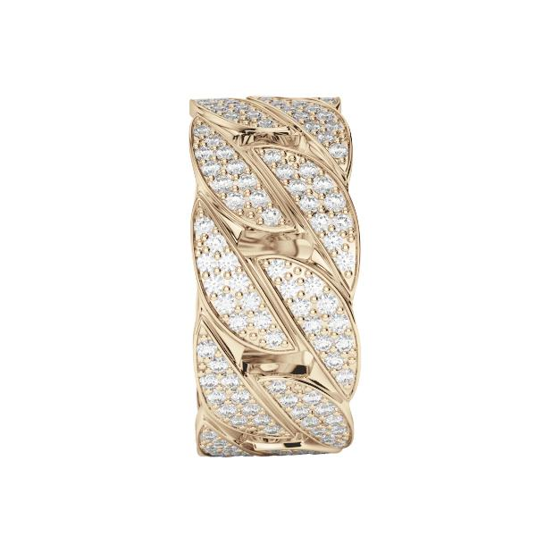 Diamond Cuban Link Ring Gold Gods® front view