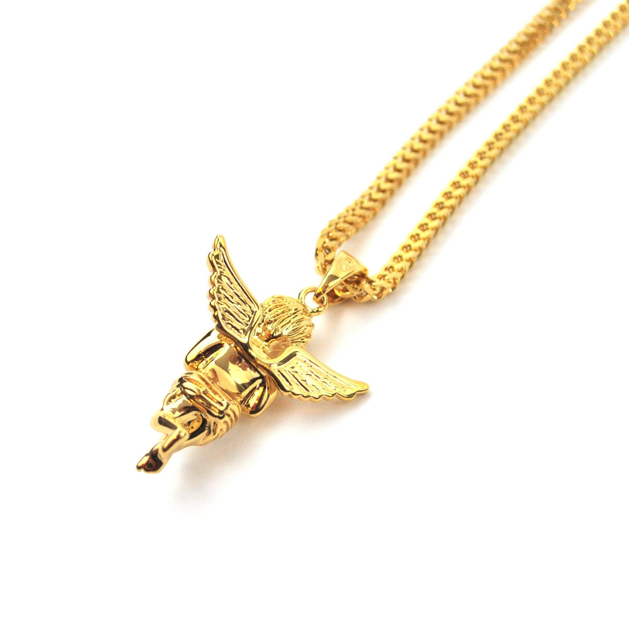The gold gods designer jewelry and accessories micro angel piece necklace aloadofball