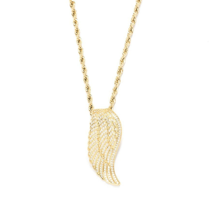 Women's Gold Goddess Diamond Angel Wing Necklace Lifestyle