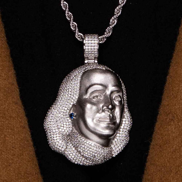White Gold Gods Blueface Chain Pendant Plain Rope Chain Hip Hop Bling