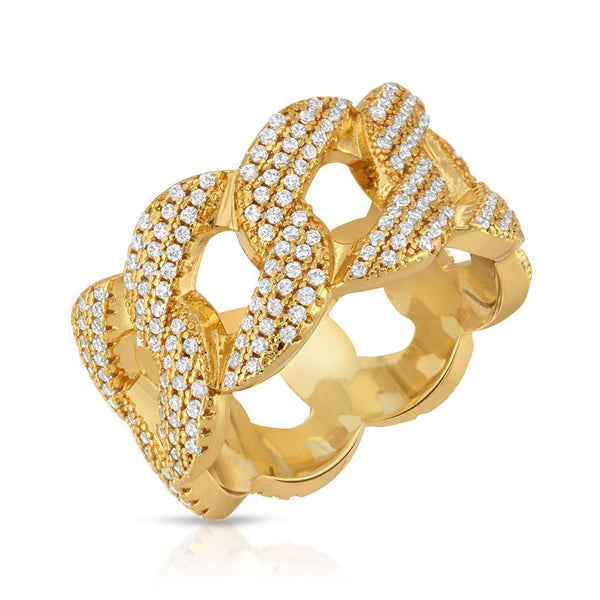 Womens Diamond Cuban Link Ring 10mm Front Look