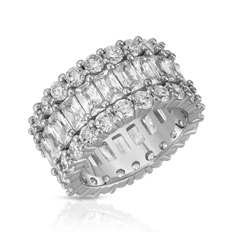 3 Row Diamond Baguette Eternity Ring