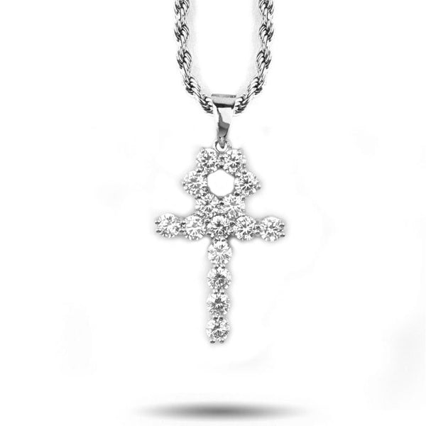 Micro Diamond Ankh Necklace in White Gold