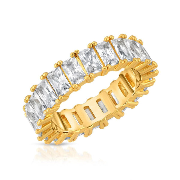 Diamond Baguette Eternity Ring Gold Gods® close up view