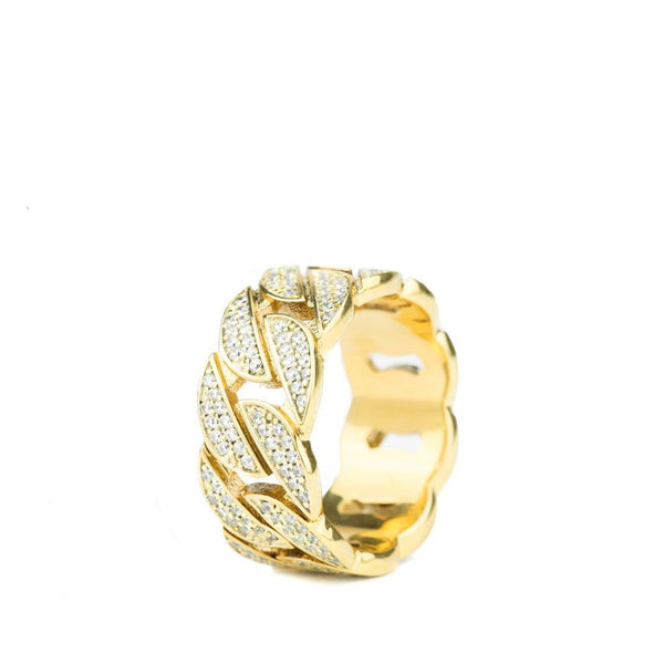 Diamond Cuban Link Ring Gold Gods® front side view