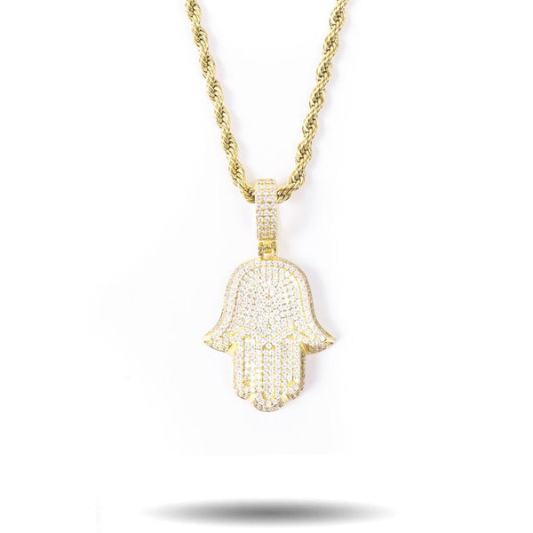 Diamond Hamsa Hand with Rope Chain