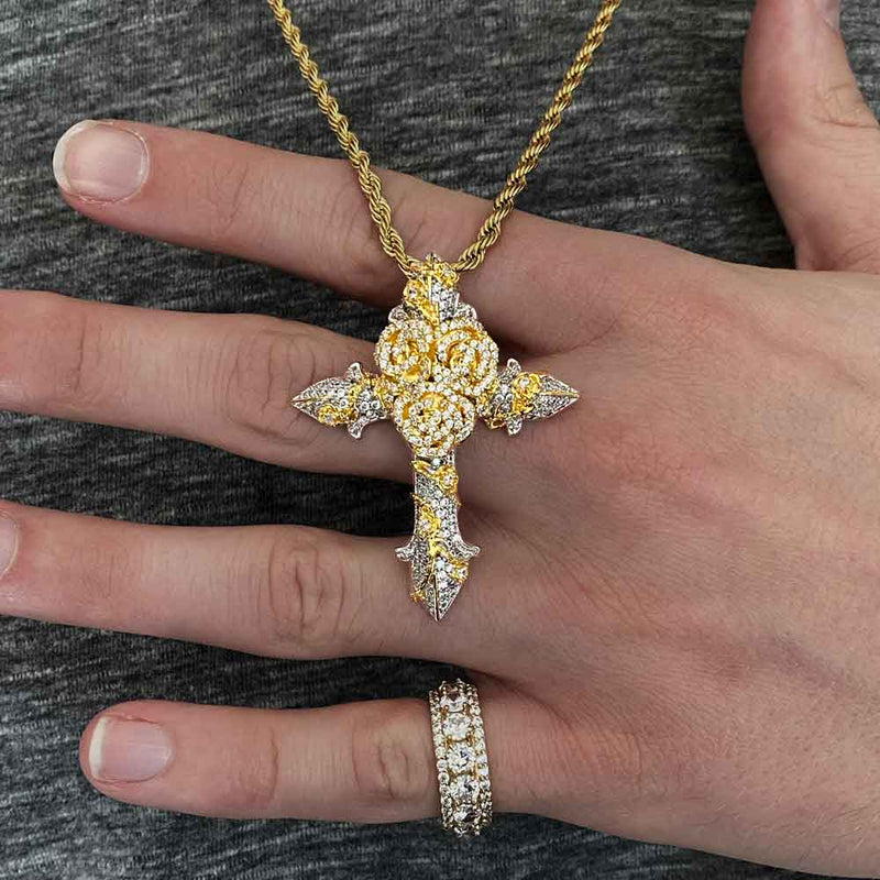 Gold & Diamond Rose Cross Necklace Gold Gods® lifestyle look