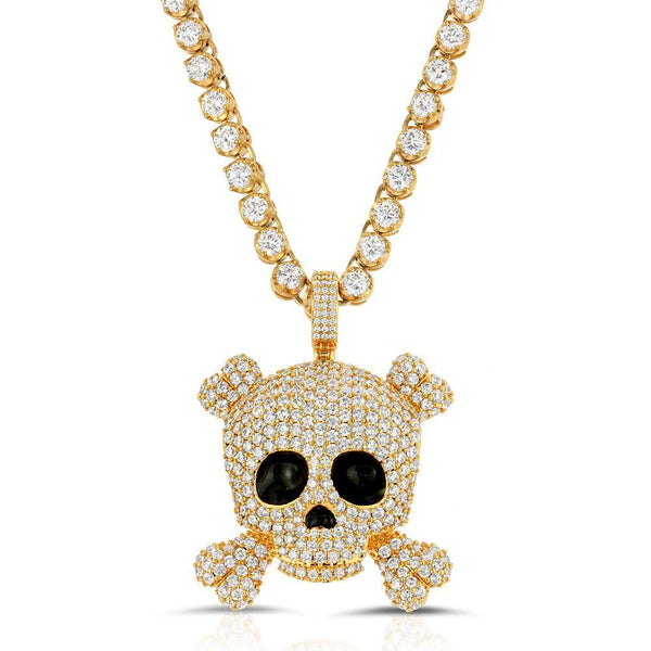 Diamond Skull Pendant with Tennis Chain