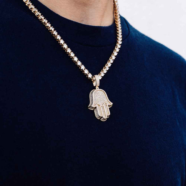 Diamond Hamsa Hand & Diamond Tennis Chain lifestyle look