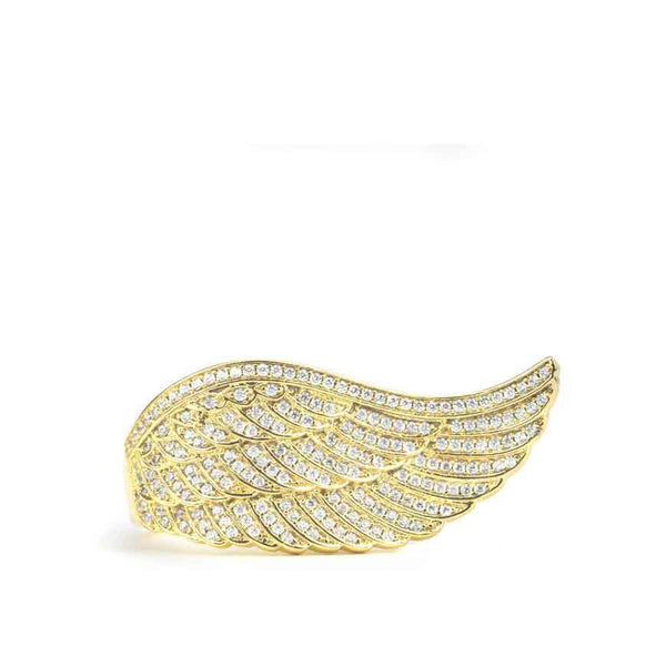 Diamond Angel Wing Ring Gold Gods®  front close up view in gold