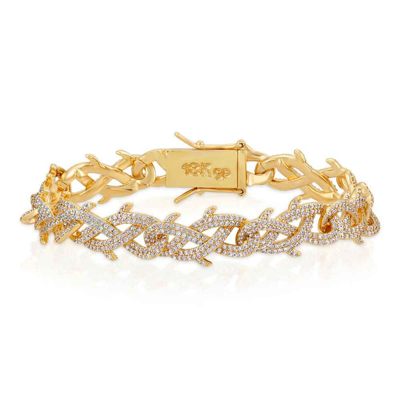 Diamond Crown of Thorns Bracelet Gold Gods® Yellow gold close up view