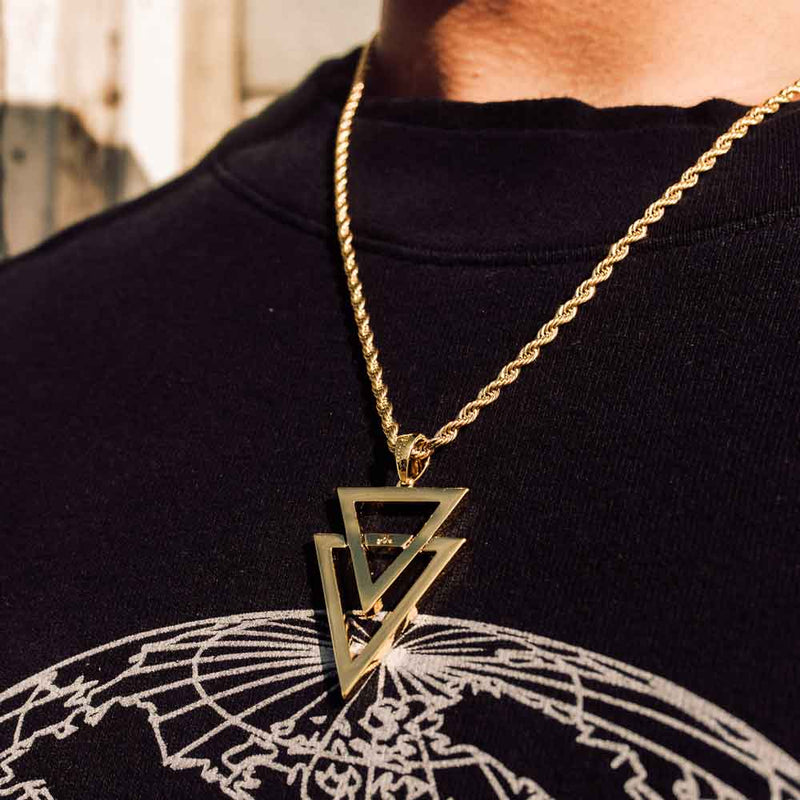 Dual Arrow Gold Necklace Pendant & Rope Gold Chain