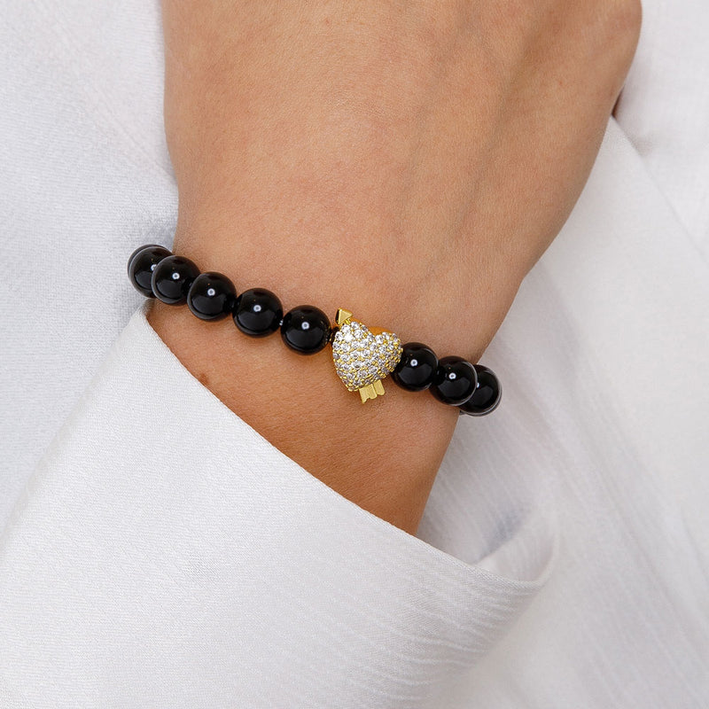 Gold Goddess Women's Diamond Heart Beaded Bracelet Black