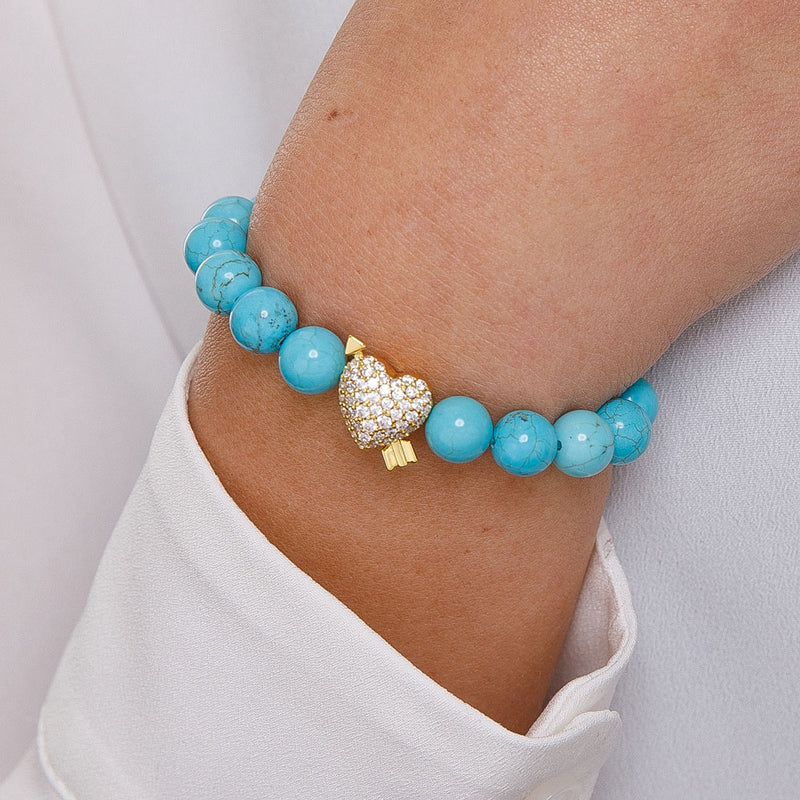 Gold Goddess Women's Diamond Heart Beaded Bracelet Turquoise