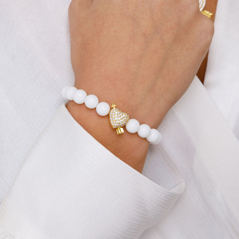Women's Diamond Heart White Beaded Bracelet