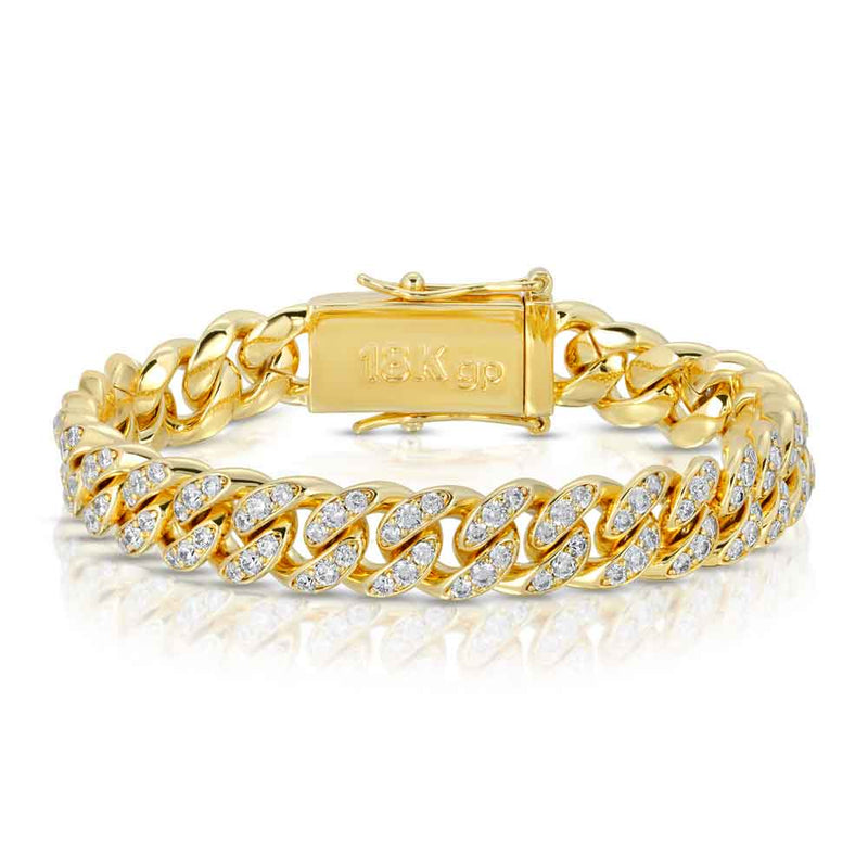 Miami Diamond Cuban Link Bracelet 10mm Gold Golds® front look 2