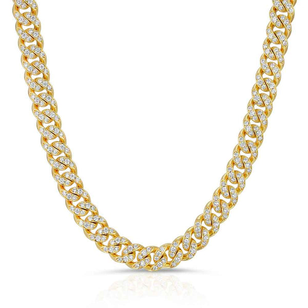 Diamond Cuban Link Chain 10mm lifestyle look gold gods® front
