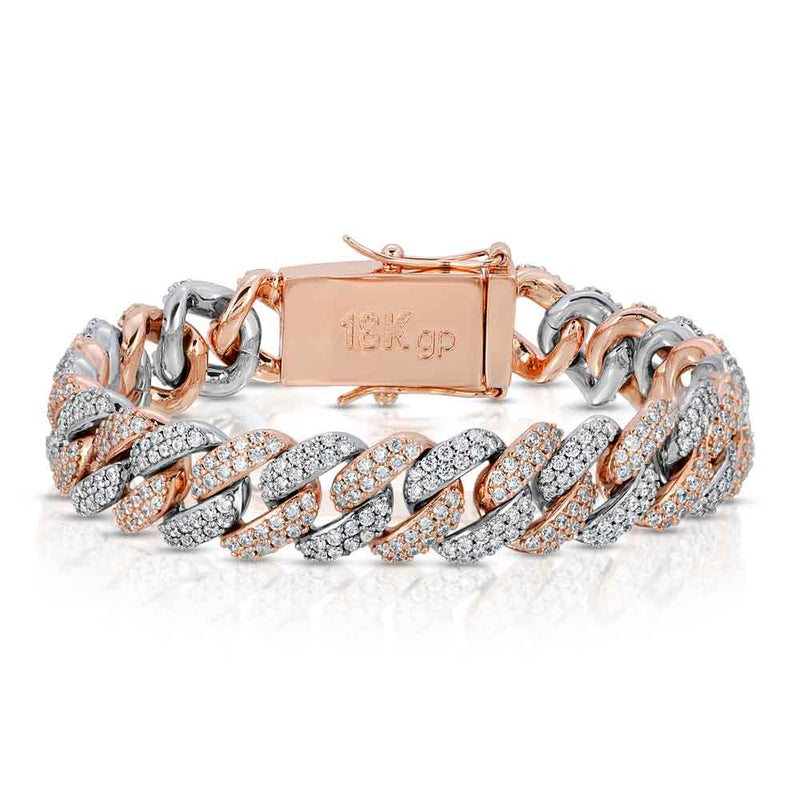 Diamond Cuban Link Bracelet 2 Tone - Rose Gold / White Gold  Gold Gods®