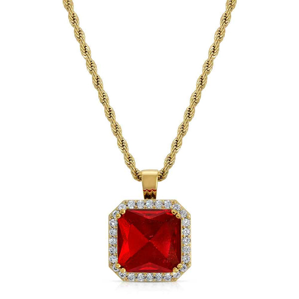 Aura Ruby Necklace Pendant & Gold Chain Gold Gods® front view