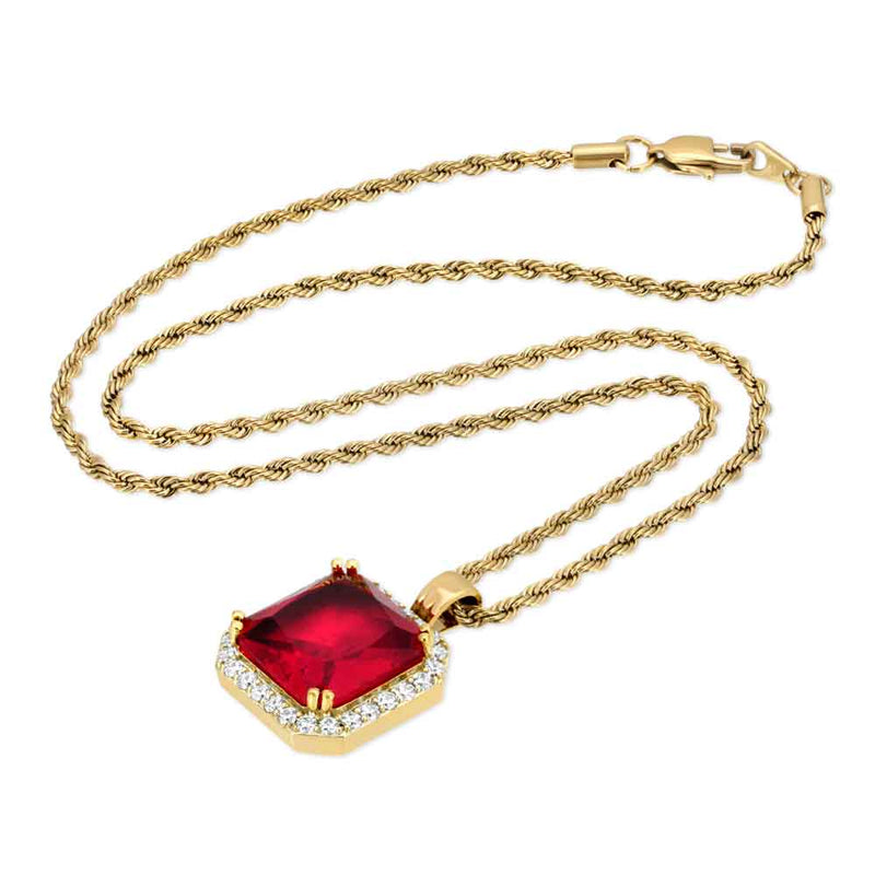 Aura Ruby Necklace Pendant & Gold Chain Gold Gods® top side view