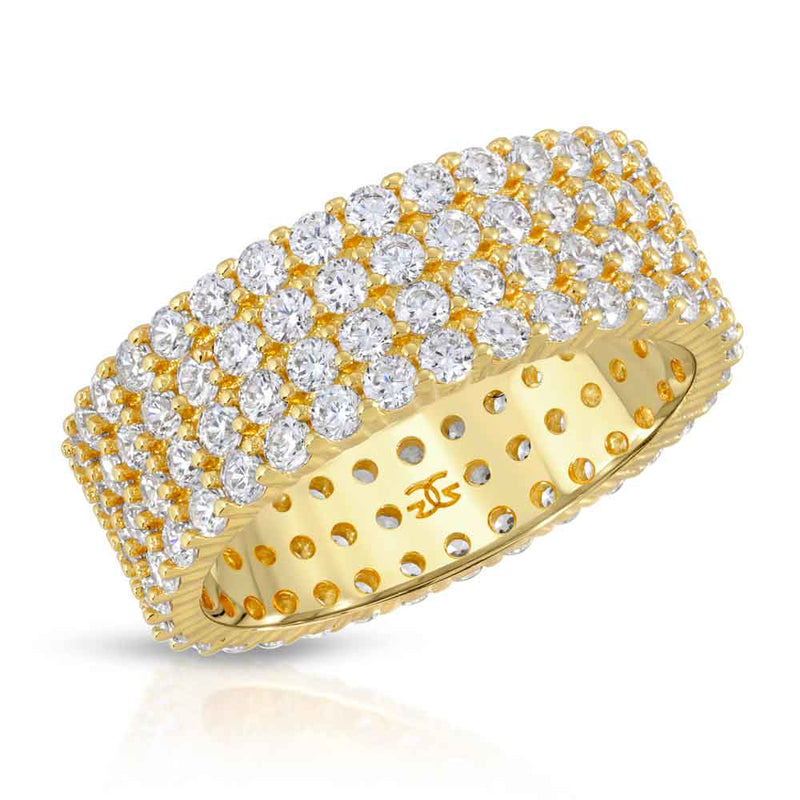 Eternity Diamond Ring 4 Row Stacked Gold Gods® Front