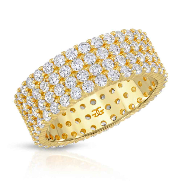 Eternity Diamond Ring 4 Row Stacked Gold Gods® front close up view