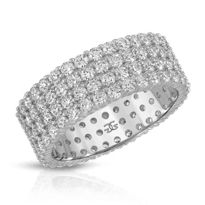 Eternity Diamond Ring 4 Row Stacked Gold Gods® White Gold
