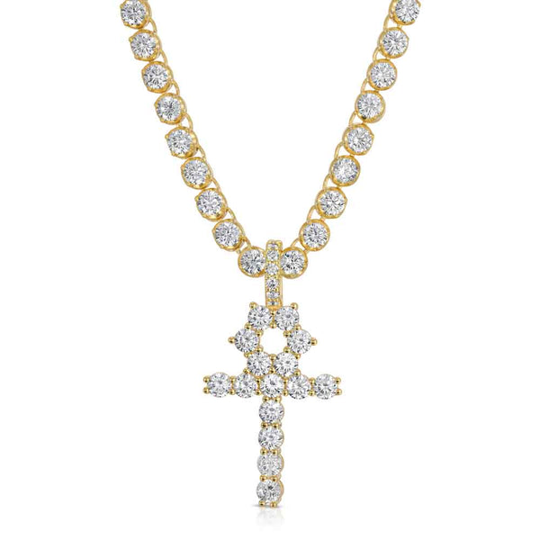 Diamond Ankh Cross & Diamond Tennis Chain