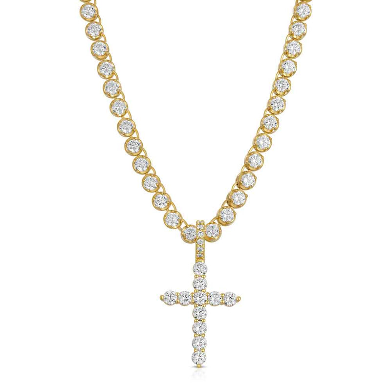 Diamond Cross with Tennis Chain Gold Gods Front