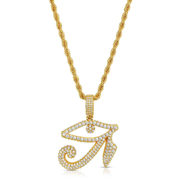 Diamond Eye Of Horus with Rope Chain Gold Gods® front view yellow gold