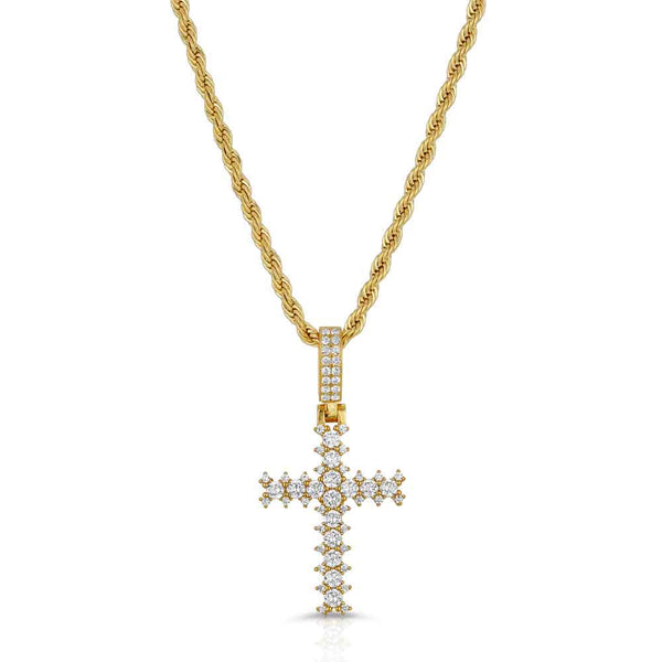 Diamond Cross Necklace & Mens Rope Gold Chain Gold Gods® Front