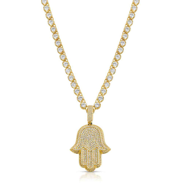 Diamond Hamsa Hand & Diamond Tennis Chain Gold Gods Front