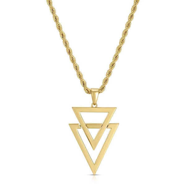 Dual Arrow Gold Necklace Pendant & Rope Gold Chain Gold Gods® front view