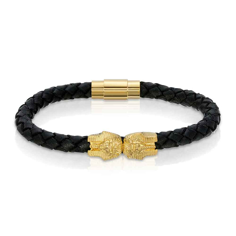 Dual Pharaoh Leather Bracelet