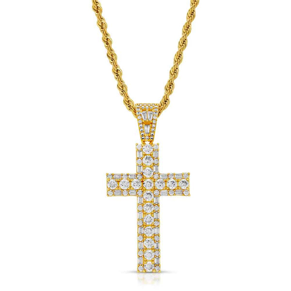 Diamond Emerald Cut Cross Necklace & Mens Rope Gold Chain Gold Gods