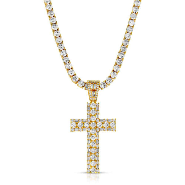 Diamond Emerald Cross Necklace & Mens Gold Tennis Chain Gold Gods