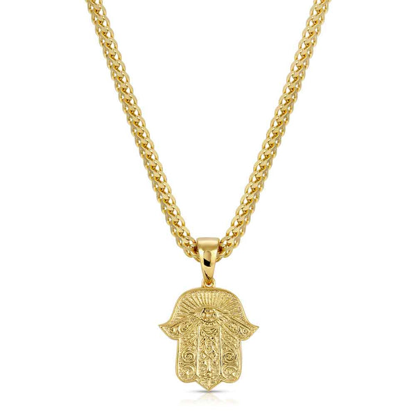 Hamsa Hand Gold Pendant Necklace & Franco Gold Chain Gold Gods®  front view