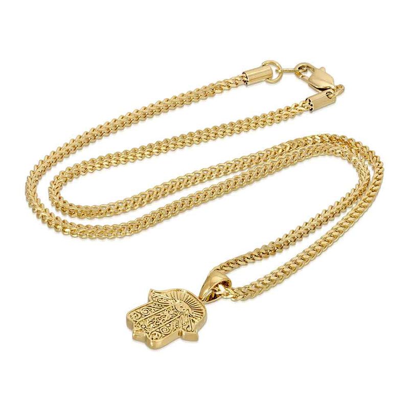 Hamsa Hand Gold Pendant Necklace & Franco Gold Chain Gold Gods® close up side view