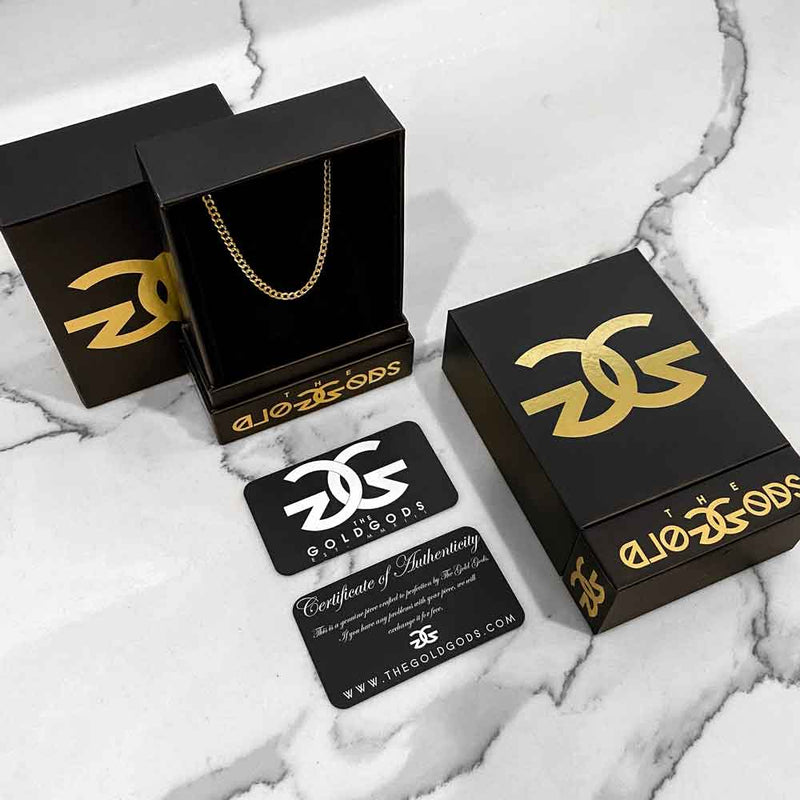 Men's Solid Gold Figaro Link Chain Gold Gods® Packaging