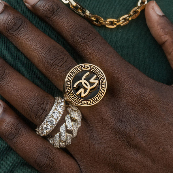 Men's Gold Gods Logo Ring