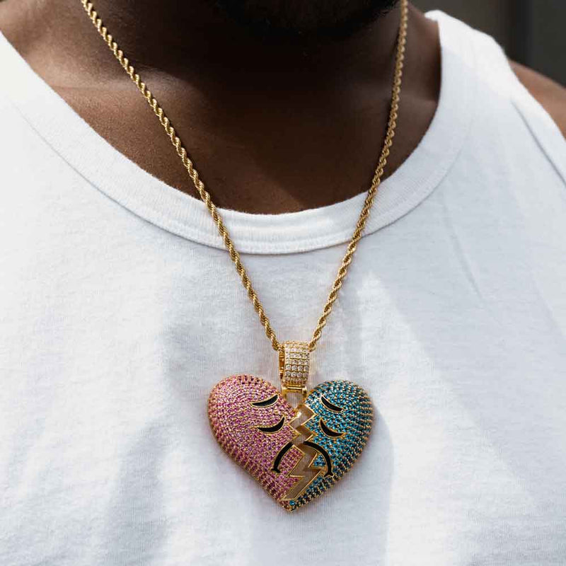 Diamond Broken Heart Pendant with Rope Chain Gold Gods®