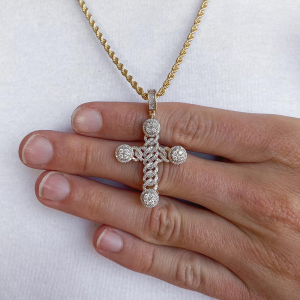 14k Solid Gold Diamond Cuban Cross Pendant (1 CTW)  | Golds Gods® 4