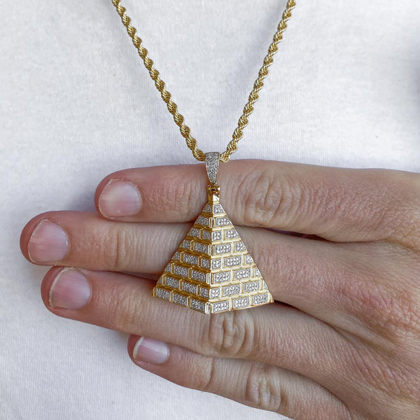 10k Solid Gold Diamond Pyramid Pendant (.50 CTW) | Golds Gods® 3