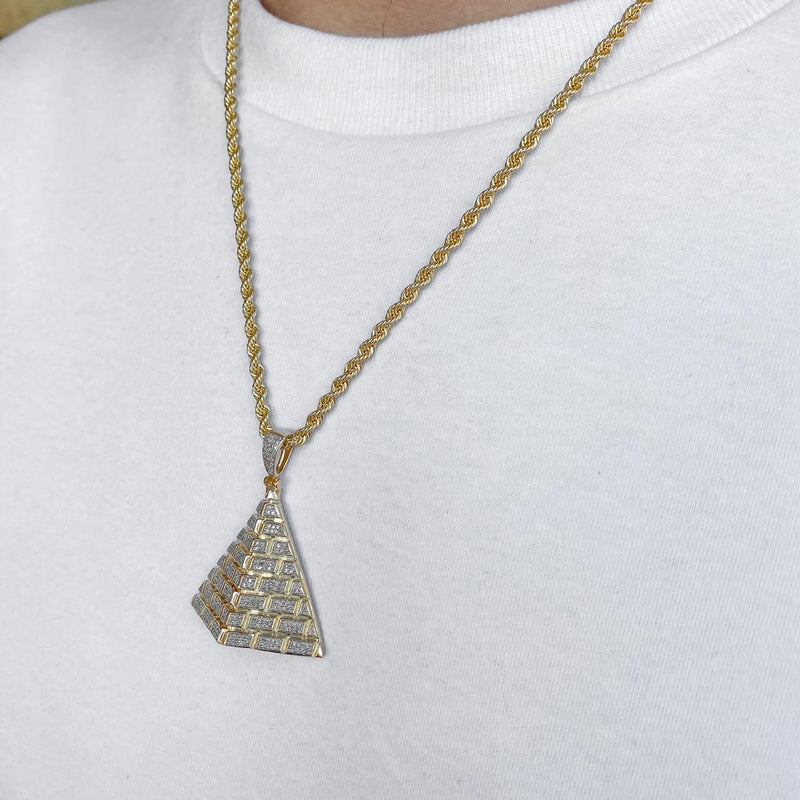 10k Solid Gold Diamond Pyramid Pendant (.50 CTW) | Golds Gods® 1