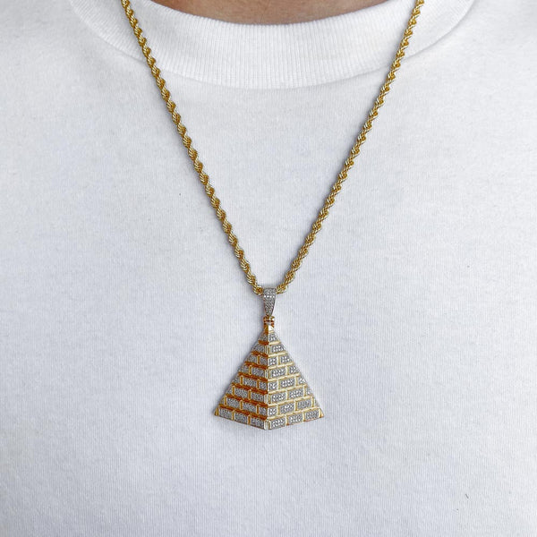 10k Solid Gold Diamond Pyramid Pendant (.50 CTW) | Golds Gods® 2