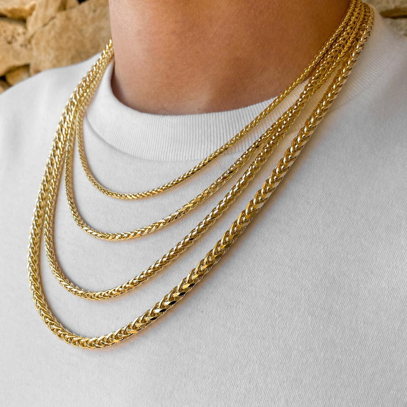 Solid Gold Palm Wheat Franco Chain | Gold Gods® 2